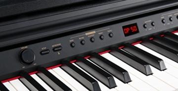 Classic Cantabile DP-50 SM E-Piano (Digitalpiano mit Hammermechanik, 88 Tasten, 2 Anschlüsse für Kopfhörer, USB, LED, 3 Pedale, Piano für Anfänger) schwarz matt - 3