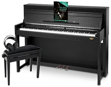 Classic Cantabile UP-1 SM E-Piano Deluxe Set (inklusive Pianobank, Kopfhörer und Klavierschule, Dämpfersimulation, MP3-Recorder, Mic In, OLED Display, 40 hochwertige Sounds, 3 Pedale ) schwarz - 1